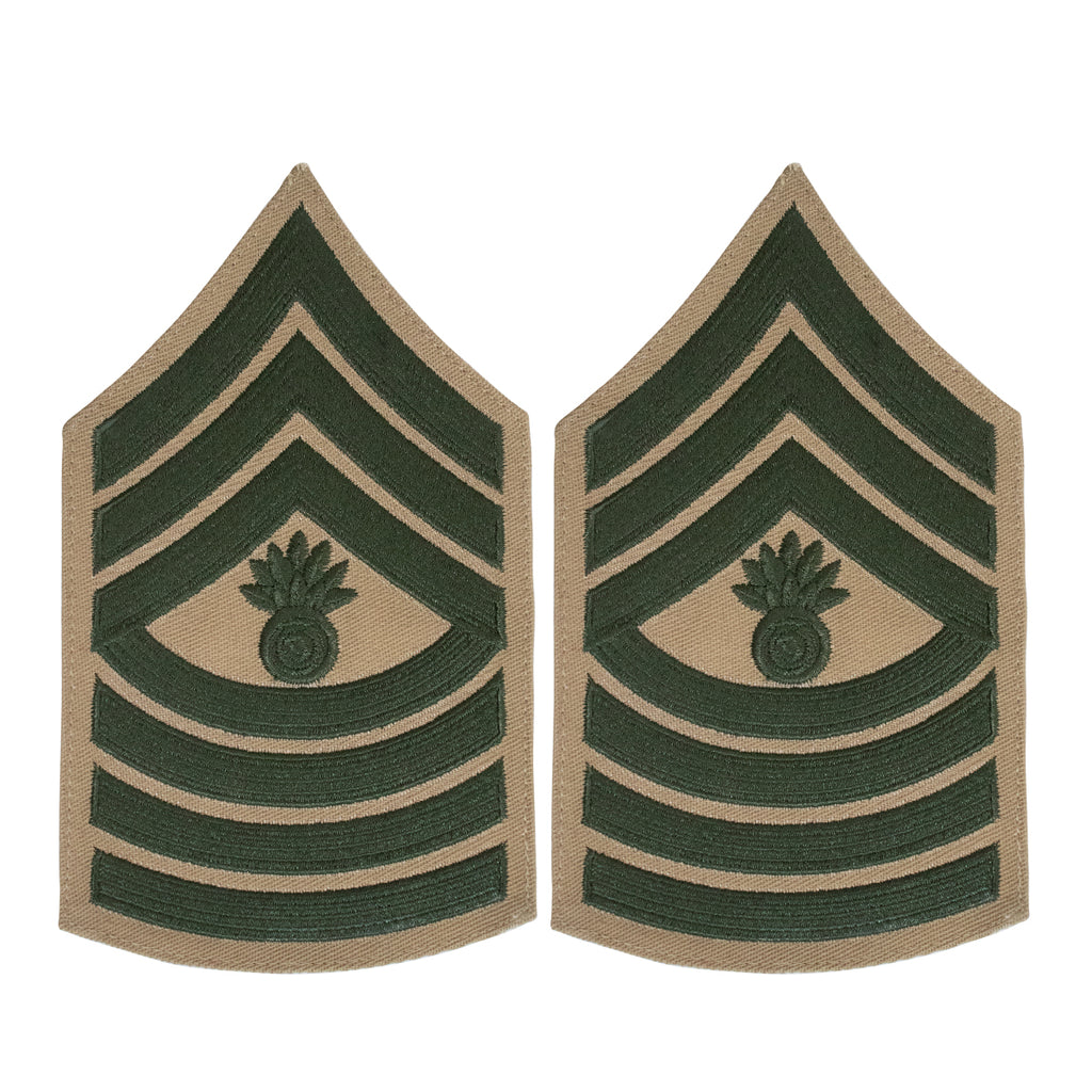 Marine Corps Chevron: Master Gunnery Sergeant - green on khaki for male
