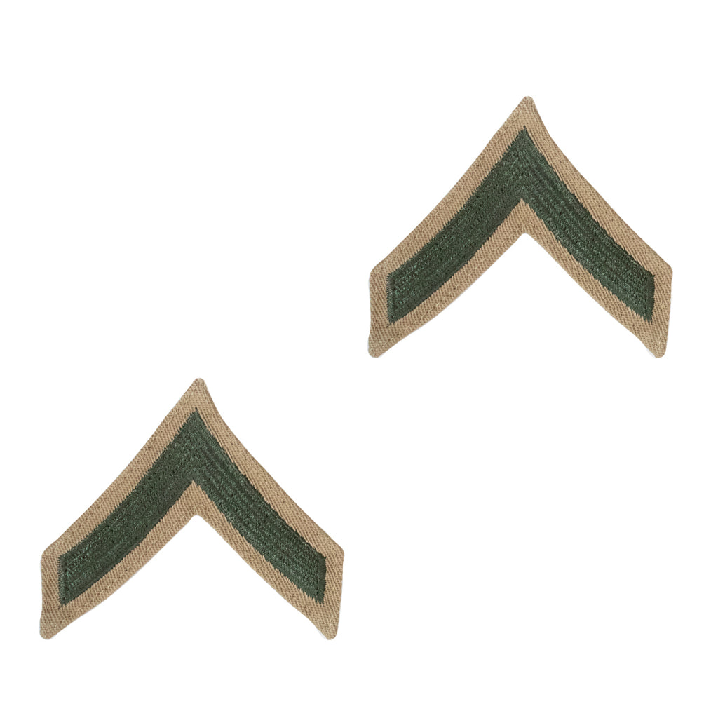 Marine Corps Chevron: Private First Class - green on khaki for female
