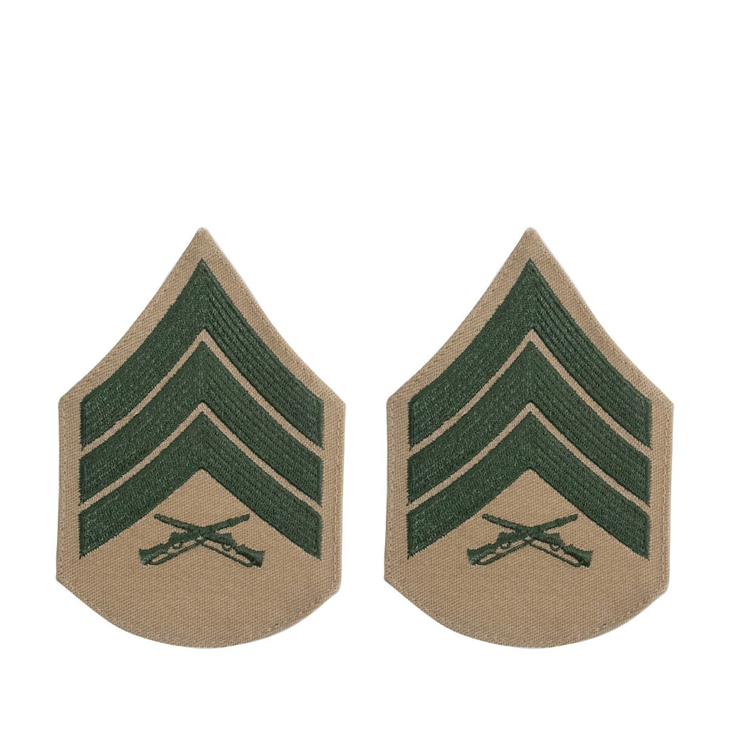 Marine Corps Chevron: Sergeant - green embroidered on khaki, female