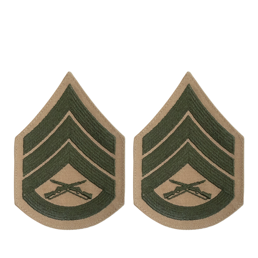 Marine Corps Chevron: Staff Sergeant - green embroidered on khaki, female