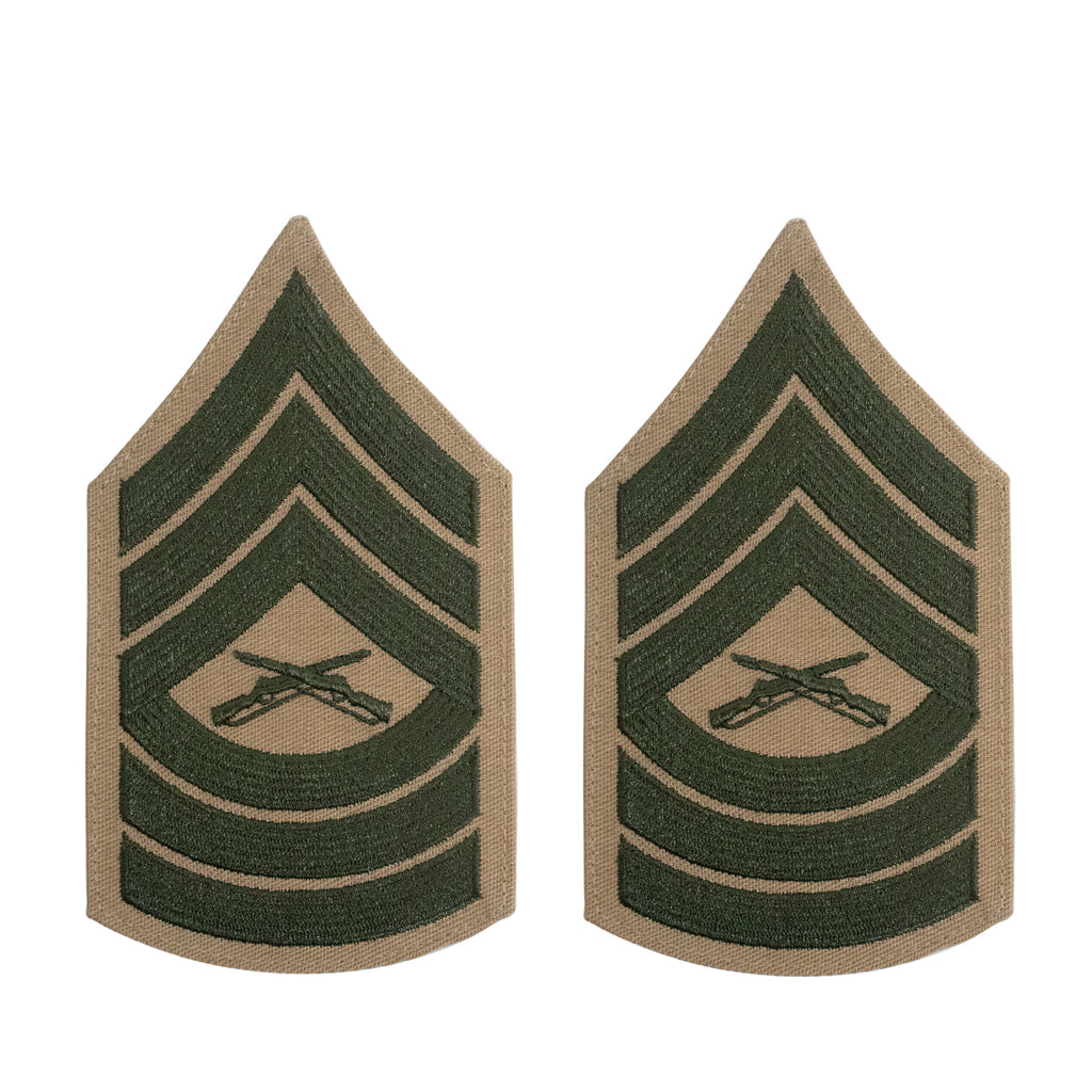 Marine Corps Chevron: Master Sergeant - green embroidered on khaki, female