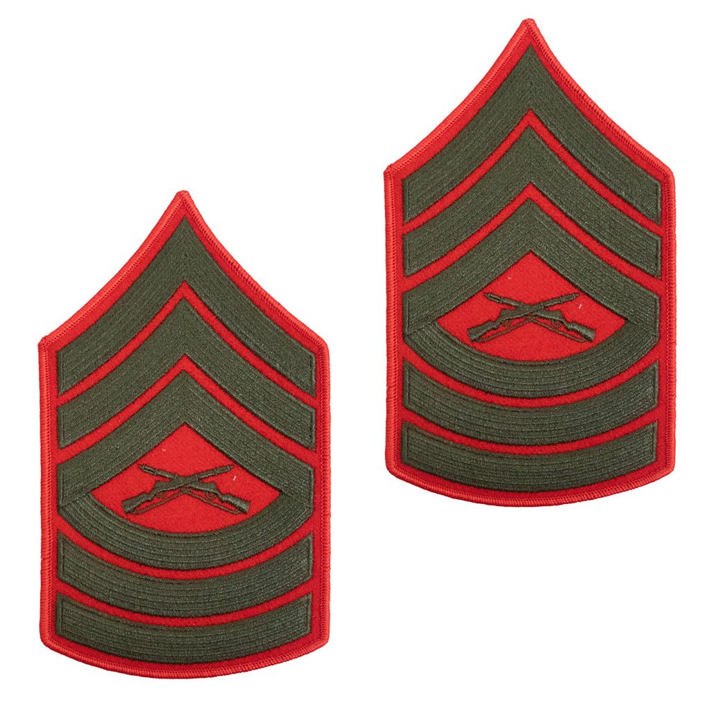 Marine Corps Chevron: Master Sergeant - green embroidered on red, male