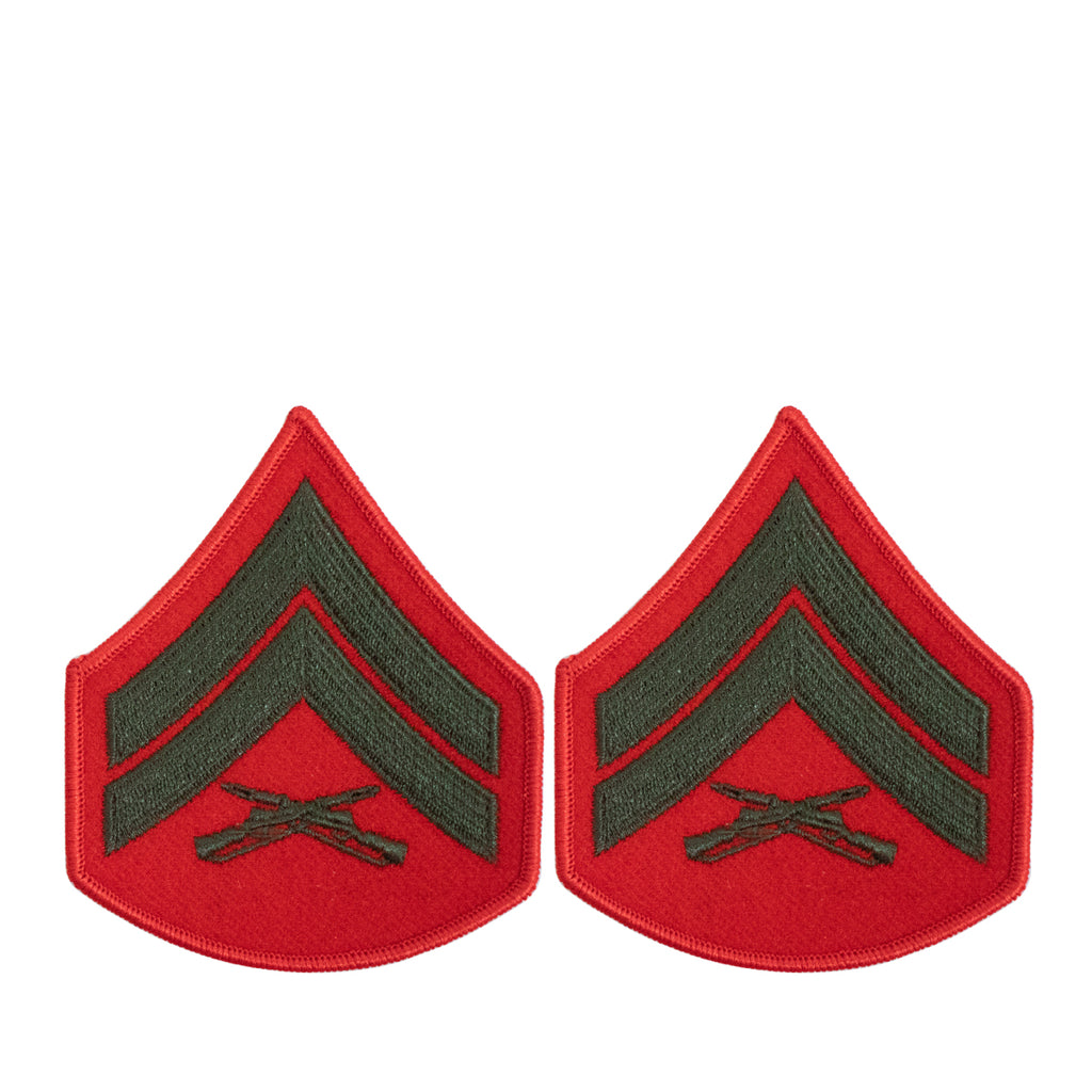 Marine Corps Chevron: Corporal - green embroidered on red, female