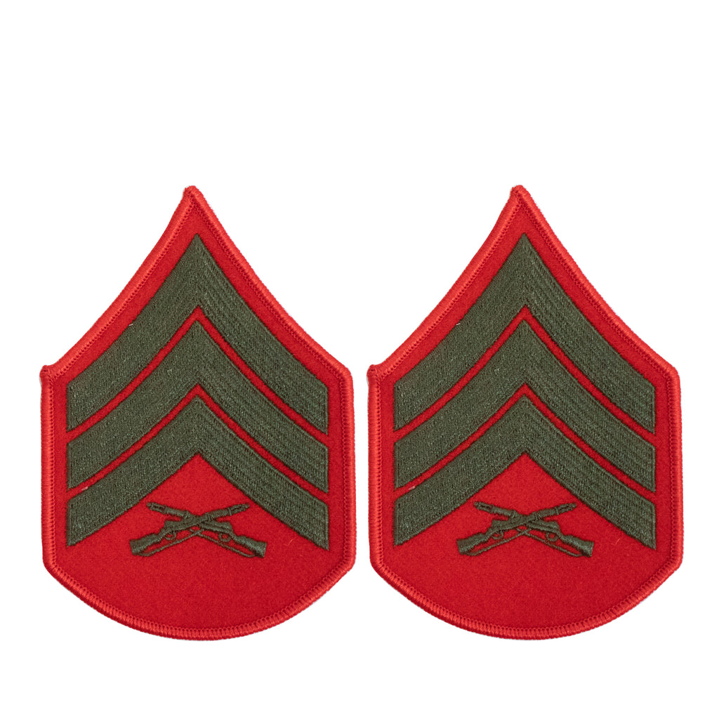 Marine Corps Chevron: Sergeant - green embroidered on red, female