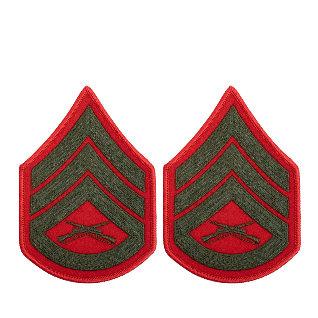Marine Corps Chevron: Staff Sergeant - green embroidered on red, female