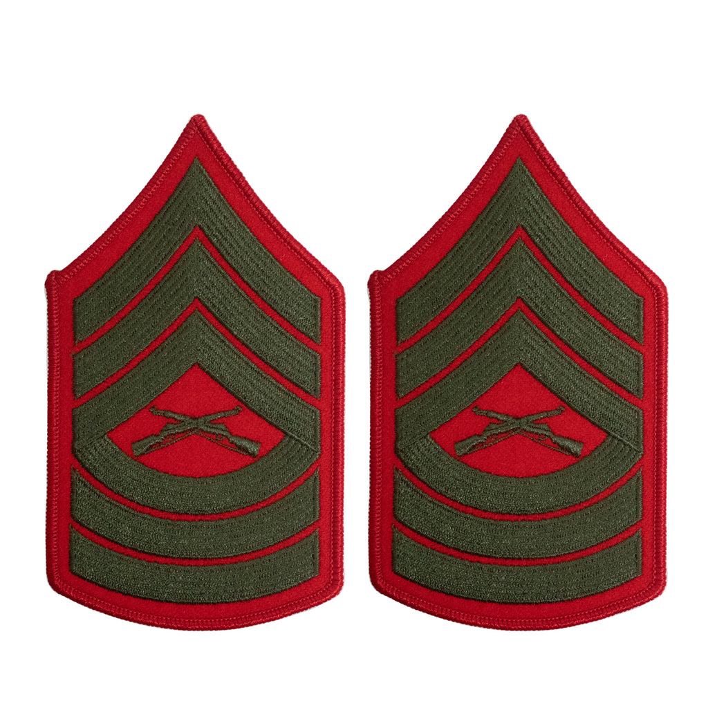 Marine Corps Chevron: Master Sergeant - green embroidered on red, female
