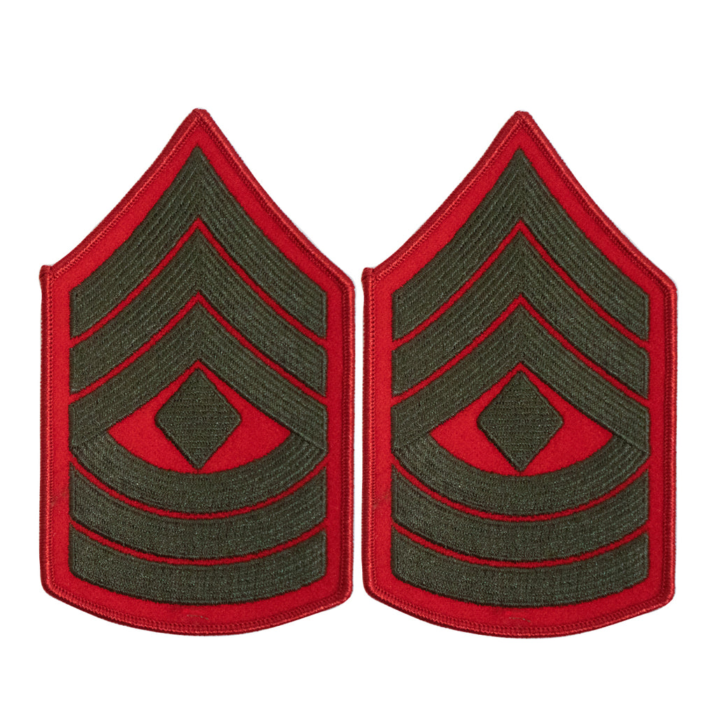 Marine Corps Chevron: First Sergeant - green embroidered on red, female
