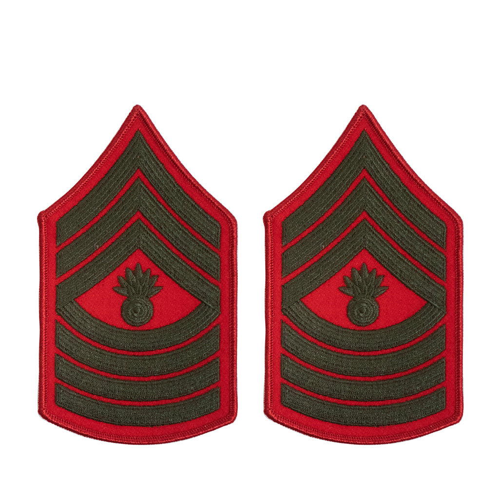 Marine Corps Chevron: Master Gunnery Sergeant - green on red for female