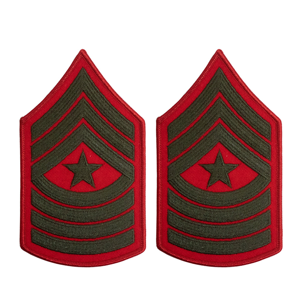 Marine Corps Chevron: Sergeant Major - green embroidered on red, female