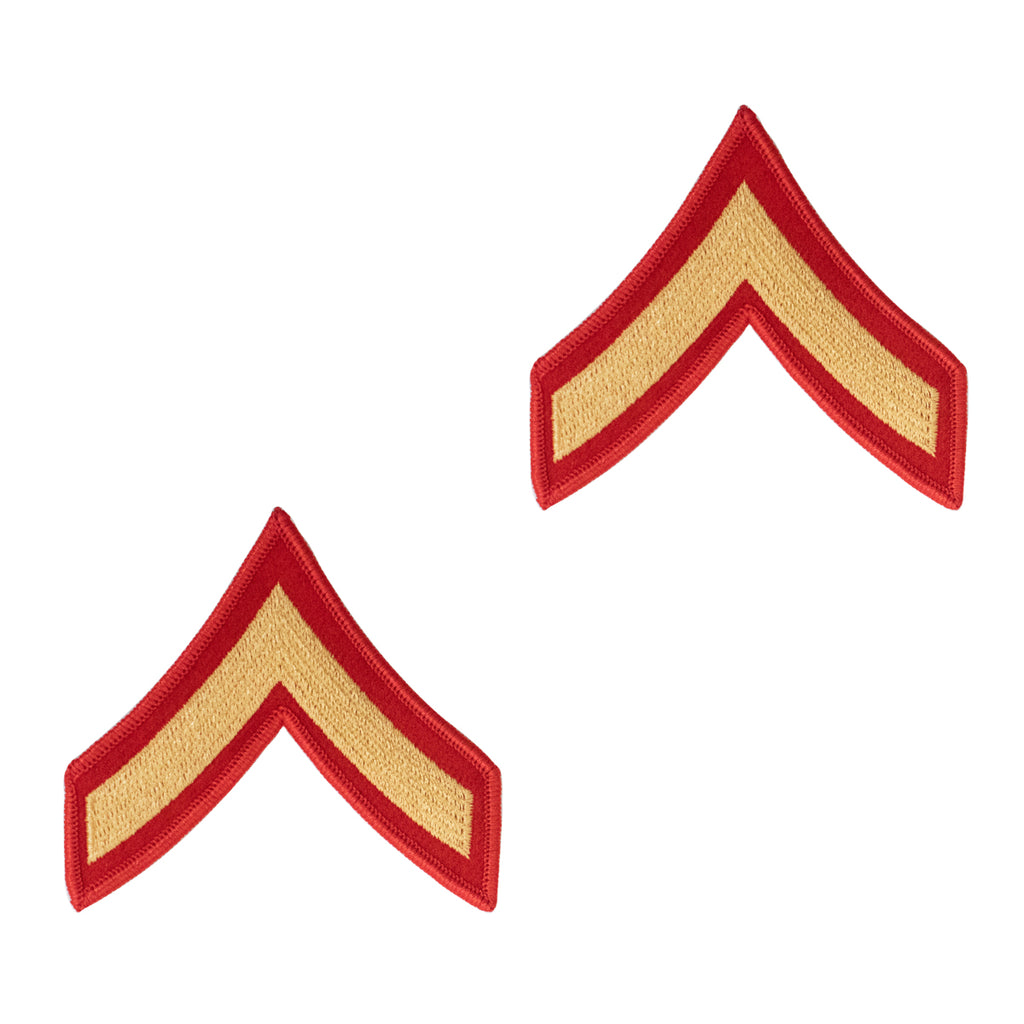 Marine Corps Chevron: Private First Class - gold on red for female