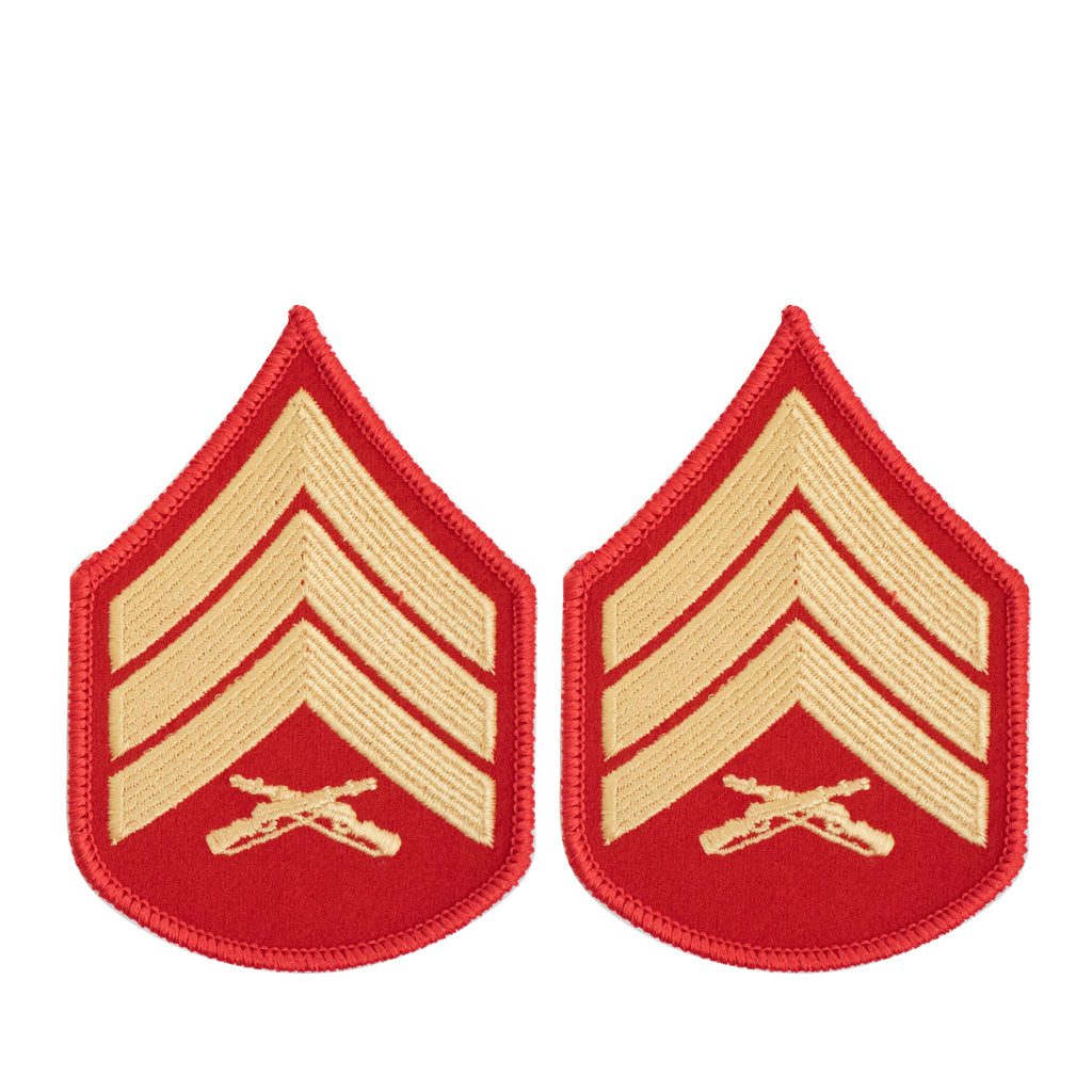 Marine Corps Chevron: Sergeant - gold embroidered on red, female