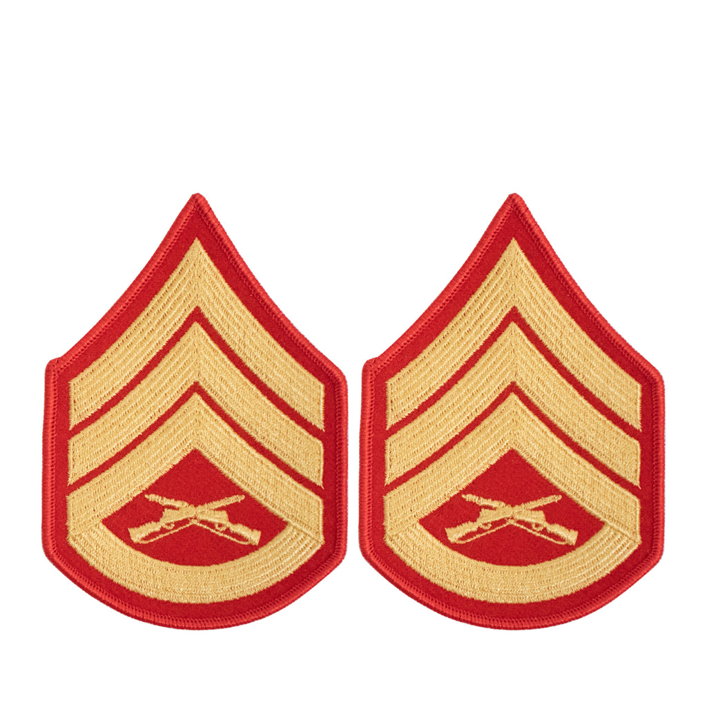 Marine Corps Chevron: Staff Sergeant - gold embroidered on red, female