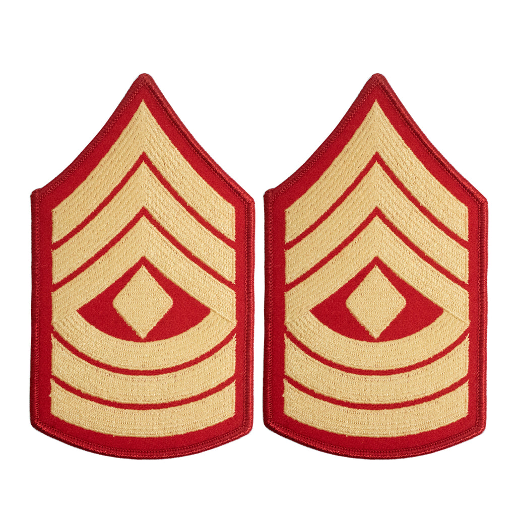 Marine Corps Chevron: First Sergeant - gold embroidered on red, female