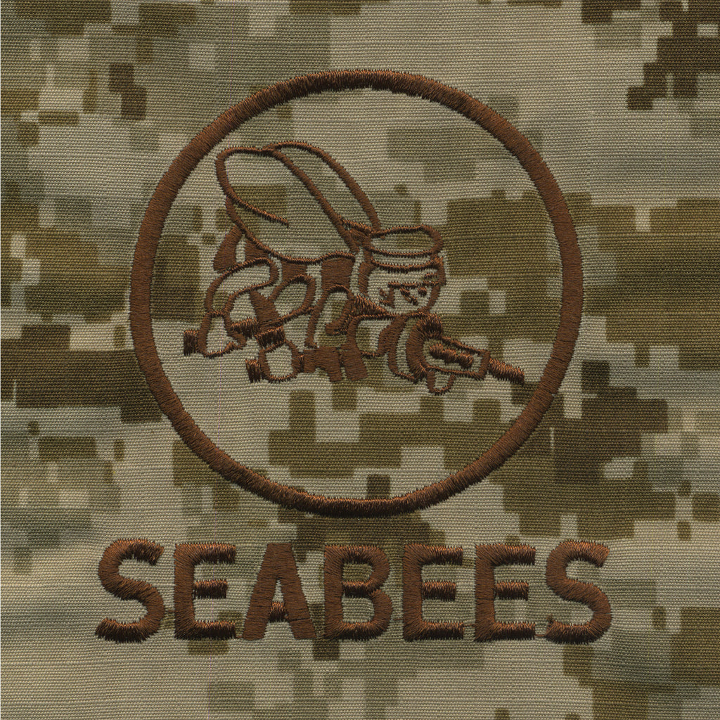 Navy Embroidered Seabee Pocket Replacement - Desert Digital