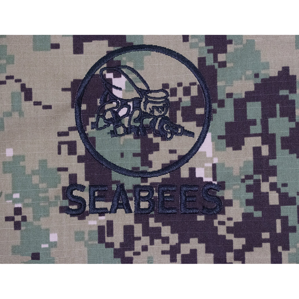 Navy Embroidered Seabee Pocket Replacement - Woodland Digital