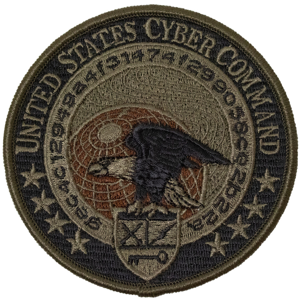 Navy Embroidered Badge: Cyber Command - Woodland Digital