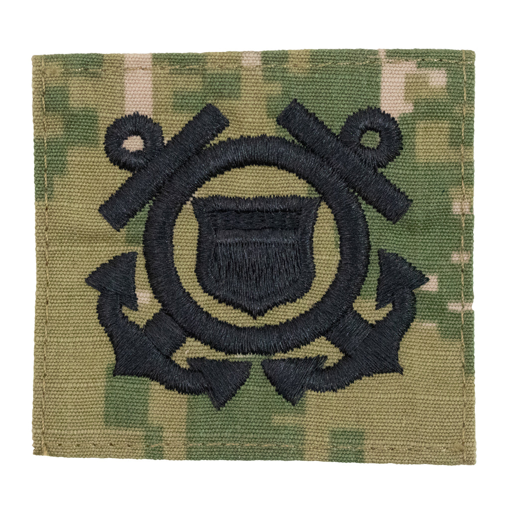 Coast Guard Cap Device embroidered on Woodland Digital: Enlisted