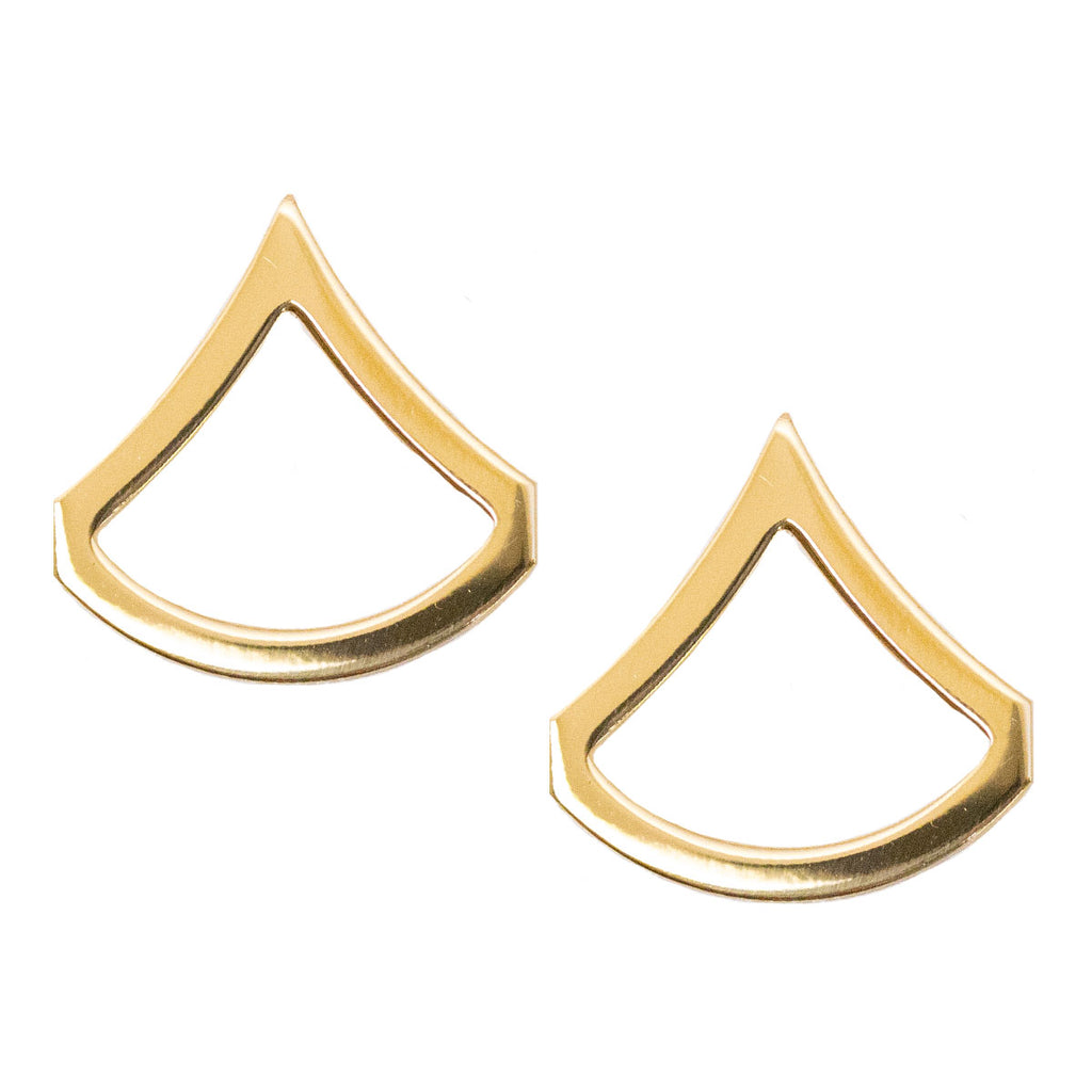 Army Chevron: Private First Class - Brass metal