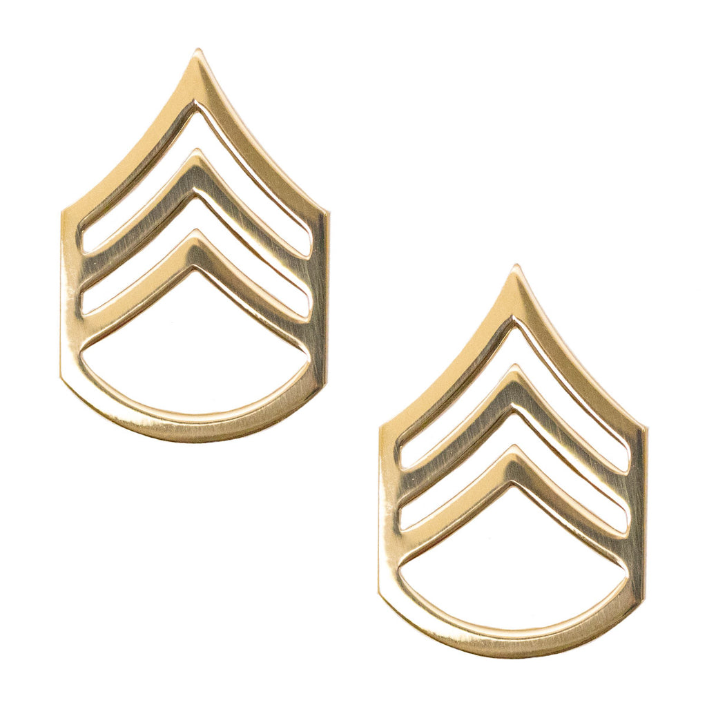 Army Chevron: Staff Sergeant- Brass metal
