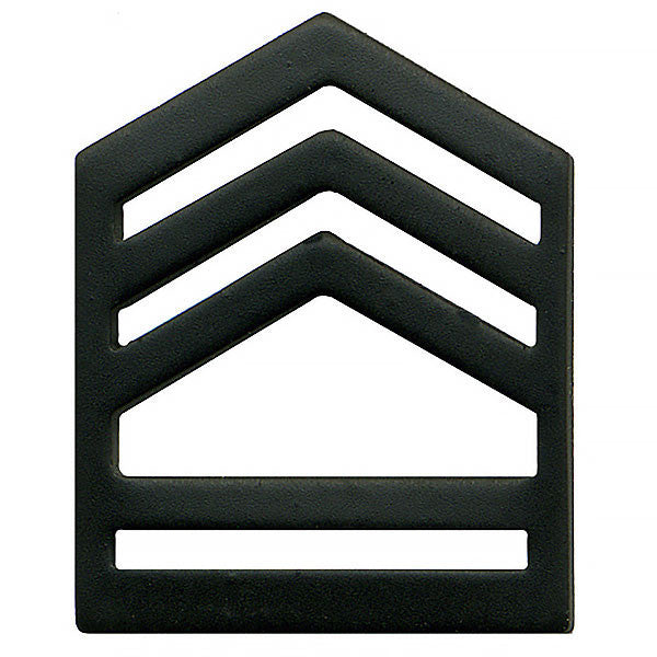 Army ROTC Chevron: Sergeant First Class Senior Division - black metal