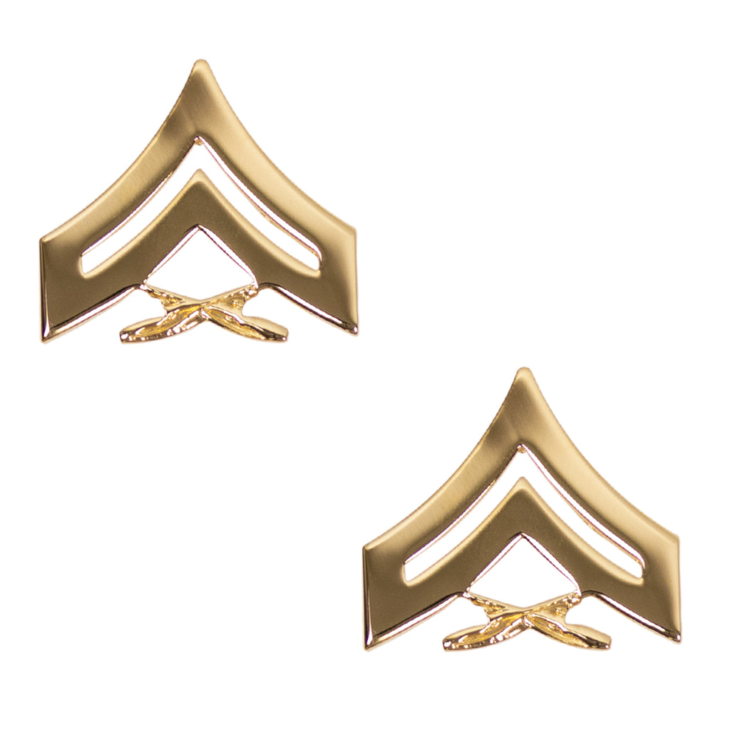Marine Corps Chevron: Corporal - 22K Gold Plated Anodized