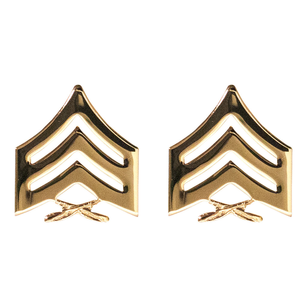 Marine Corps Chevron: Sergeant - 22K Gold Plated Anodized