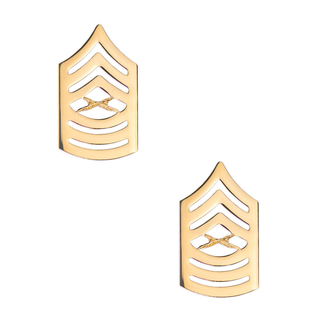 Marine Corps Chevron: Master Sergeant - 22K Gold Plated Anodized