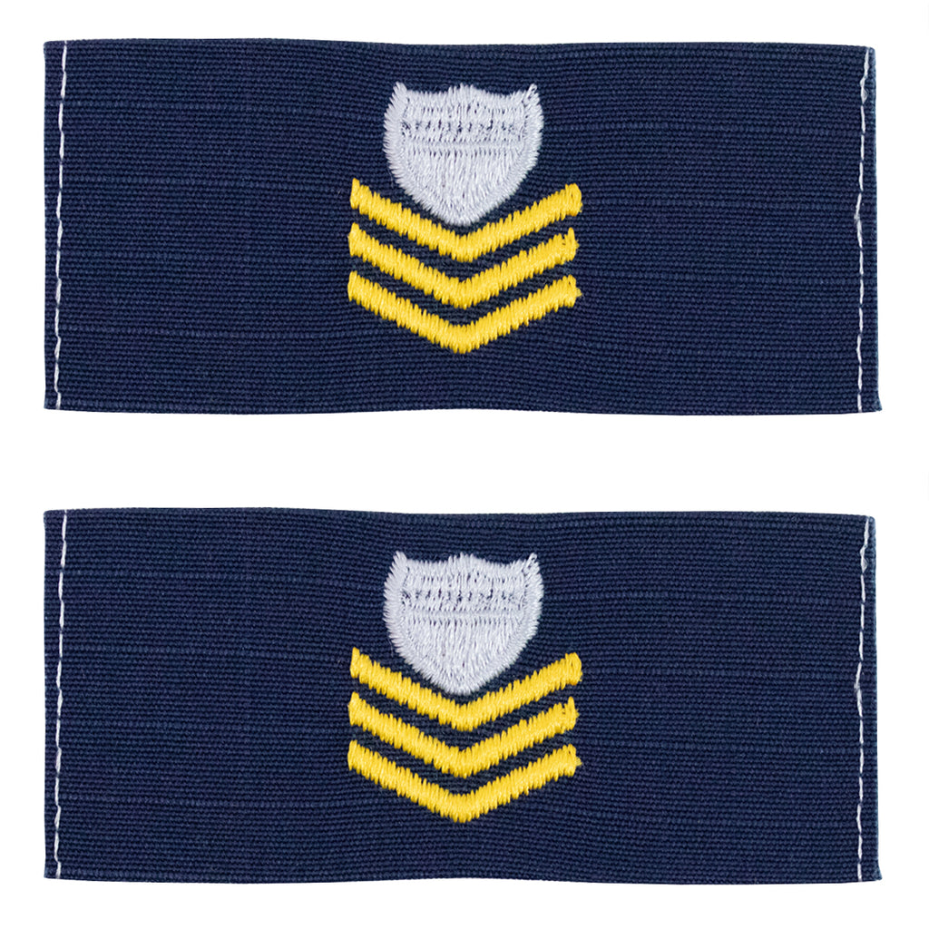 Coast Guard Embroidered Collar Device: E6 Petty Officer - Ripstop fabric
