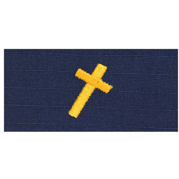 Coast Guard Embroidered Collar Device: Christian Chaplain - Ripstop fabric