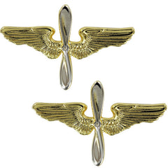 Air Force Academy Collar Device: Gold Wings and Silver Propeller