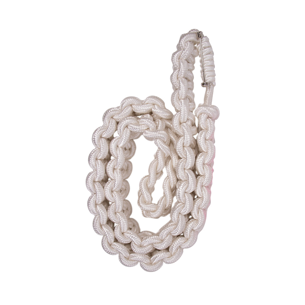 USNSCC / NLCC Shoulder Cord: 2723 Interwoven White w/ Safety Pin