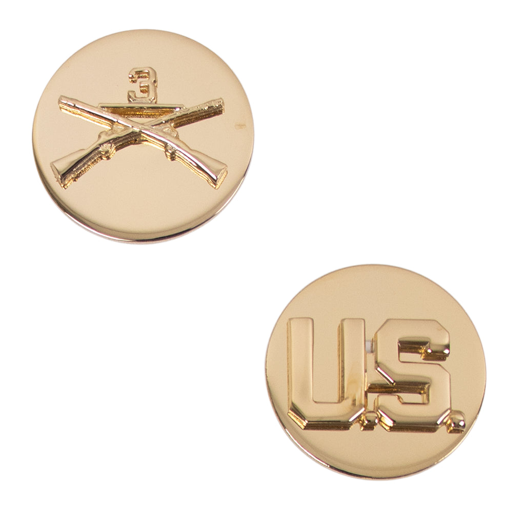 Army Enlisted Branch of Service Collar Device: U.S. and Infantry with #3