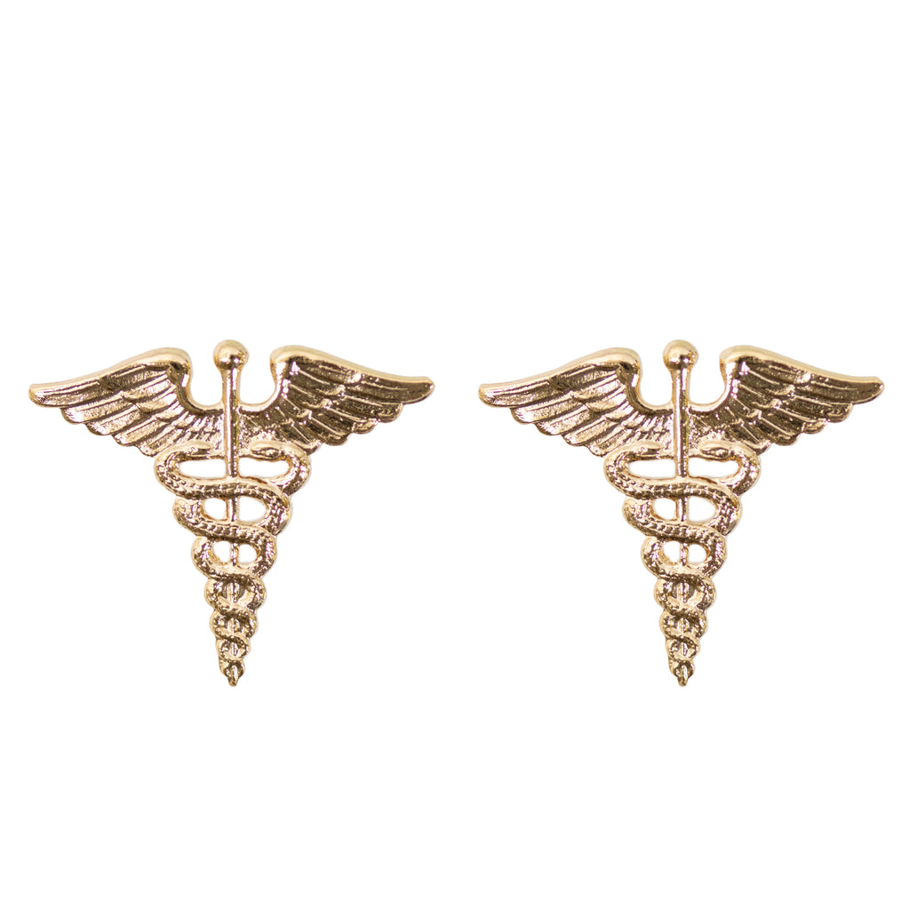 Army Officer Branch of Service Collar Device: Medical - gold plated