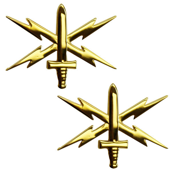 Army Officer Branch of Service Collar Device: Cyber Warfare - 22k gold plated