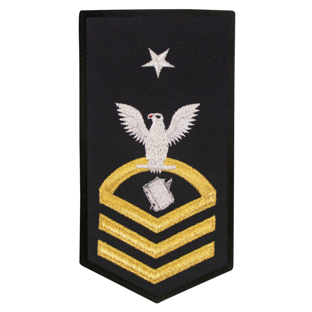Navy E8 FEMALE Rating Badge: PS Personnelman- seaworthy gold on blue
