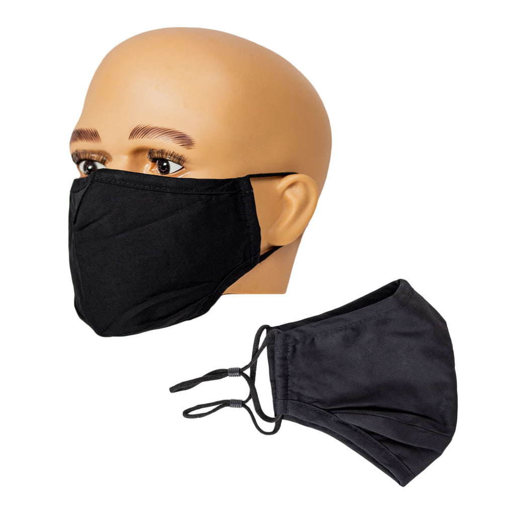Cloth Face Mask Black Washable with adjustable Ear Loops