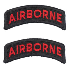 Army Embroidered Tab: Airborne - red letters on black