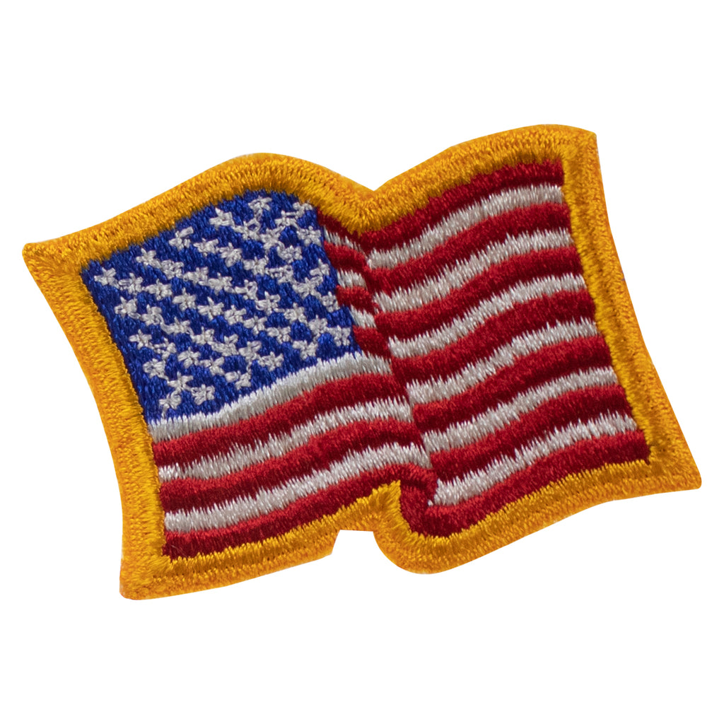 Flag Patch: United States of America 2 by 2-1/2 inch with gold wavy edge