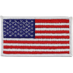 Flag Patch: United States of America 2 by 3-1/4 inch with white edge