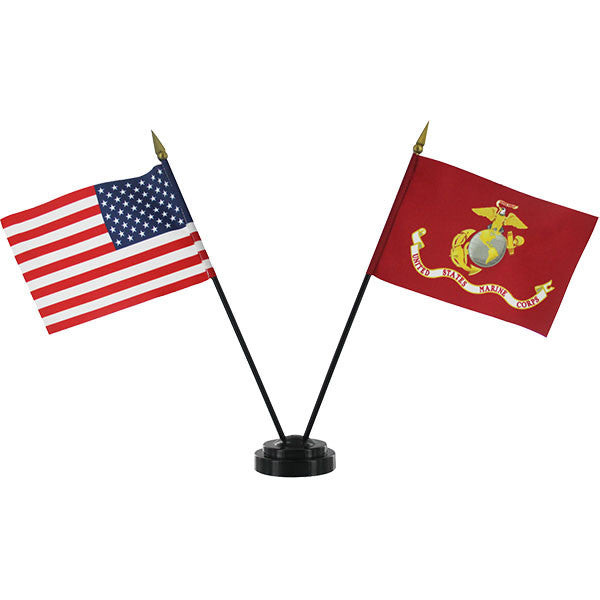Desktop Flag Set with Stand: Marine Corps and United States Flags