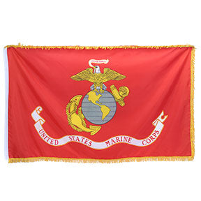 Marine Corps Flag with Pole Sleeve and Fringe