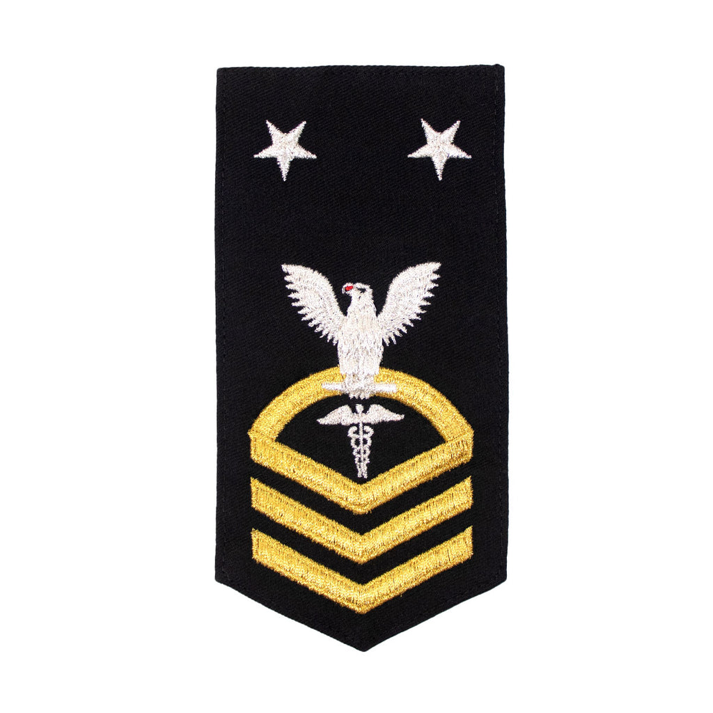 Navy E9 FEMALE Rating Badge: HM Hospitalman  - seaworthy gold on blue