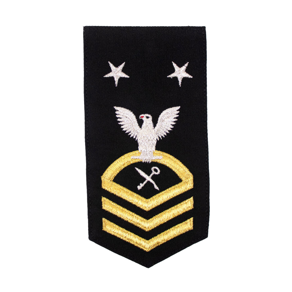 Navy E9 FEMALE Rating Badge: SH Ships Serviceman - seaworthy gold on blue