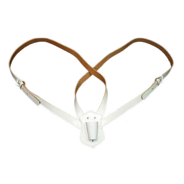 Flag Carrier: White Leather - double strap