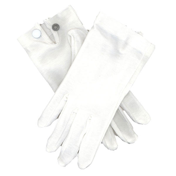 Gloves: Snap Wrist Gloves - white cotton