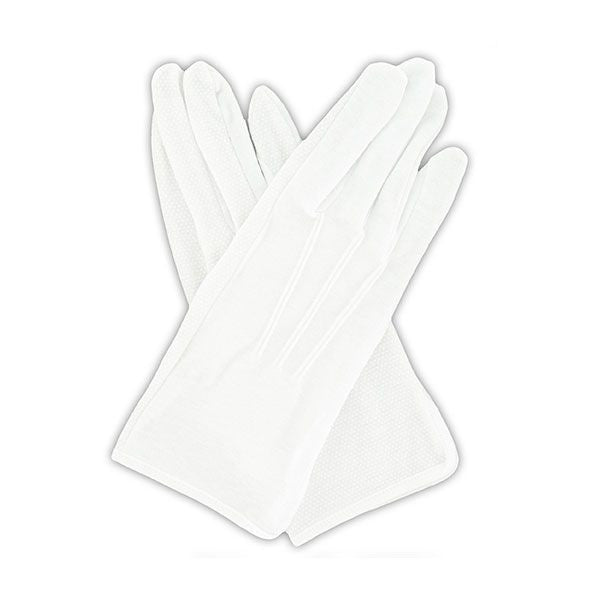 Gloves: Pull-On Gripper Gloves - white cotton