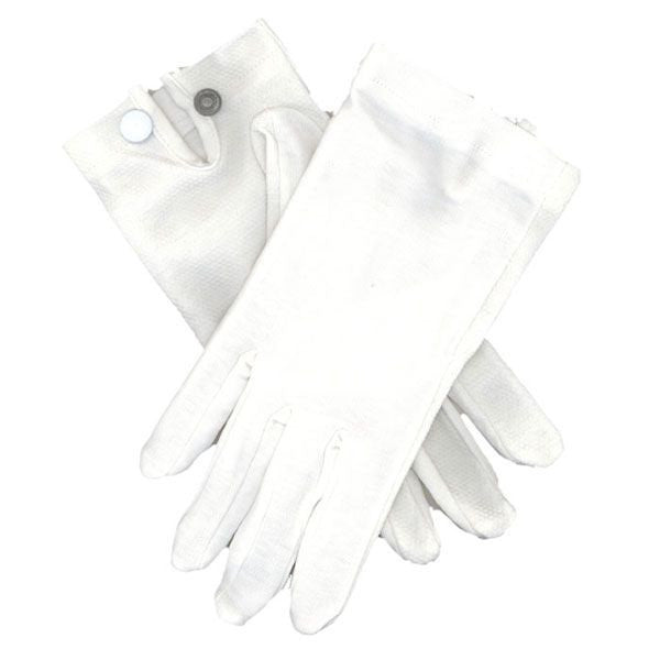 Gloves: Snap Wrist - white nylon