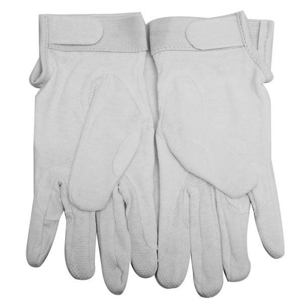 Gloves: white cotton with hook closure