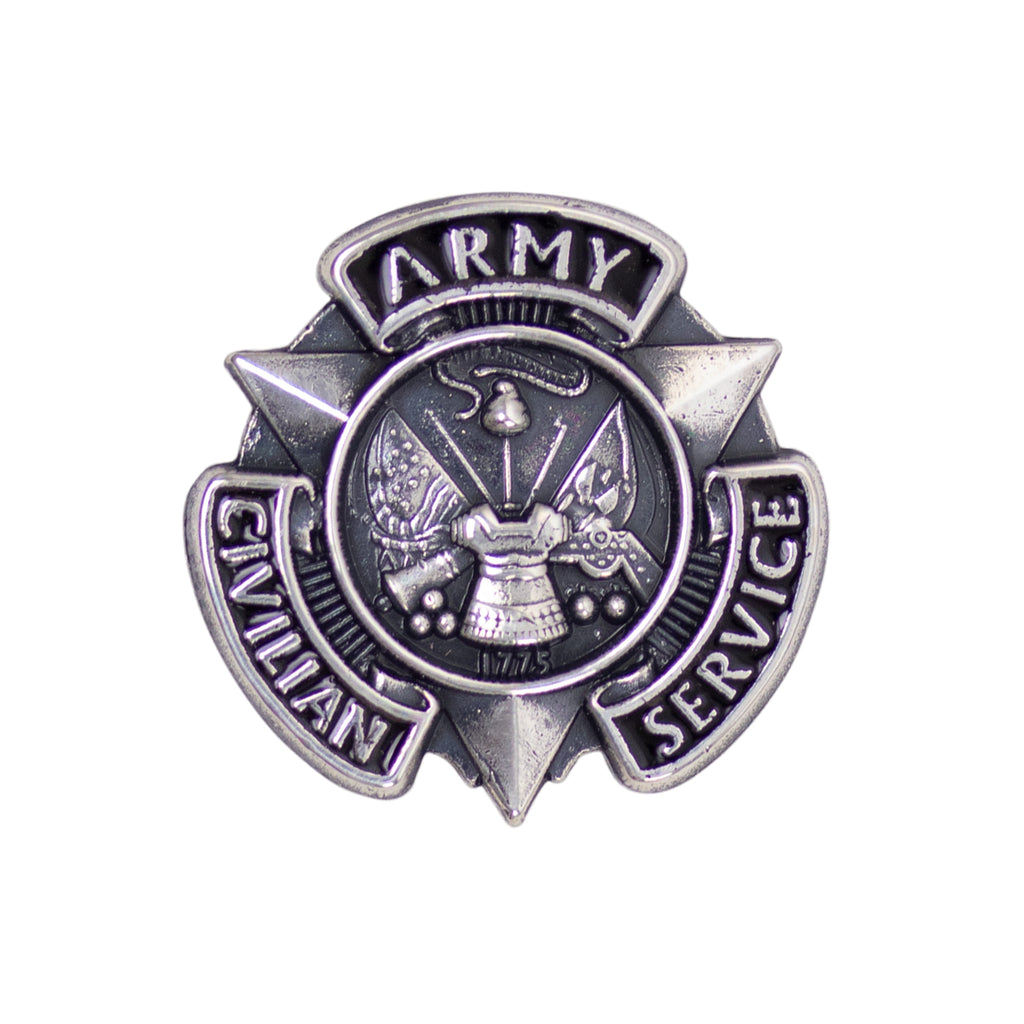 Army Lapel Pin: Civilian Service Silver - Oxidized
