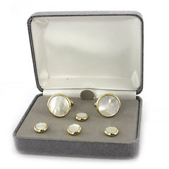 Navy Cuff Links and Shirt Studs: Genuine Mother of Pearl